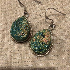 Green Druzy Quartz Pear-Shape Earrings, 925 Wires